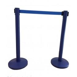 Juego de poste separador azul con cinta azul de 2 vias